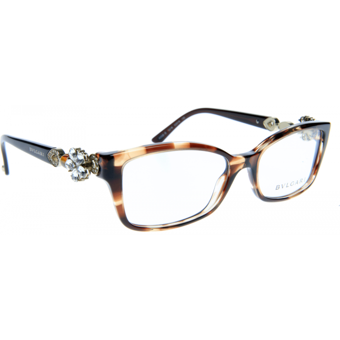 Bvlgari Glasses Bv4058b Variegated Brown Frame With Crystal Flower Detail
